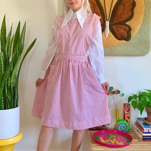 Vintage 70s candy striped pinafore dress L